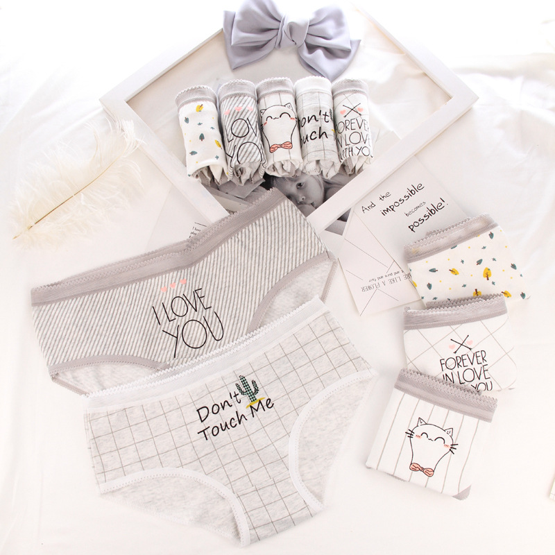 Panties For Women Cotton Lattice Letters Print Underwear Ladies Sexy Lingerie Girl Briefs Female Underpants Cartoon Panty 2018