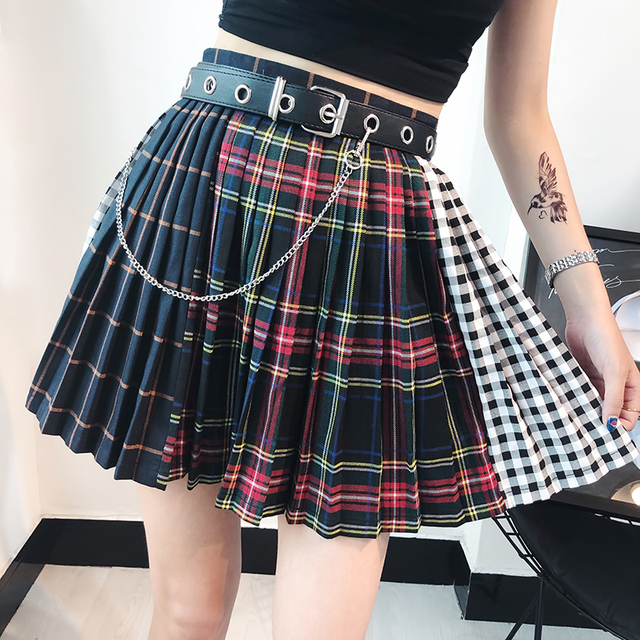 8ff252d8a573 Harajuku Skirts Women Stitched Plaid Pleated Skirt High Waist A-Line Mini  Skirt For Female
