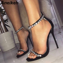 78840f01a5d6 Aneikeh Rhinestone Gladiator Sandals Shoes Women Open Toe Stiletto High  Heels Zipper Sexy Party Dress Shoes Black silver
