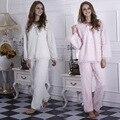 La Moda de invierno de Las Mujeres Conjuntos de Pijama de Franela Gruesa Pijama de Franela Blanca Caliente Pijama Con Capucha Pijamas ropa de Dormir Para Las Mujeres