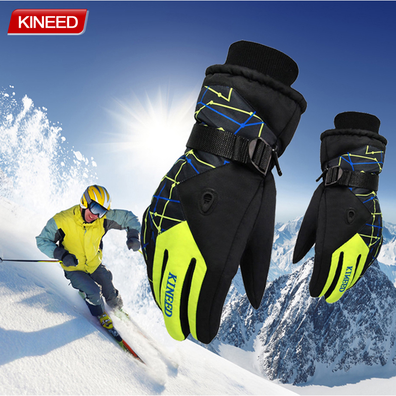 Winter Warm Snowboard Ski Gloves Men Women Mountain Skiing Snowmobile Waterproof Snow Motorcycle Gloves Windproof Guanti Moto