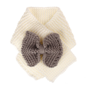 New Arrival Cute Wool Winter Baby Neck Ring Scarf Baby Kids Solid Color Bow Warm Neck Scarf Girls Children Knitted Wool Scarf