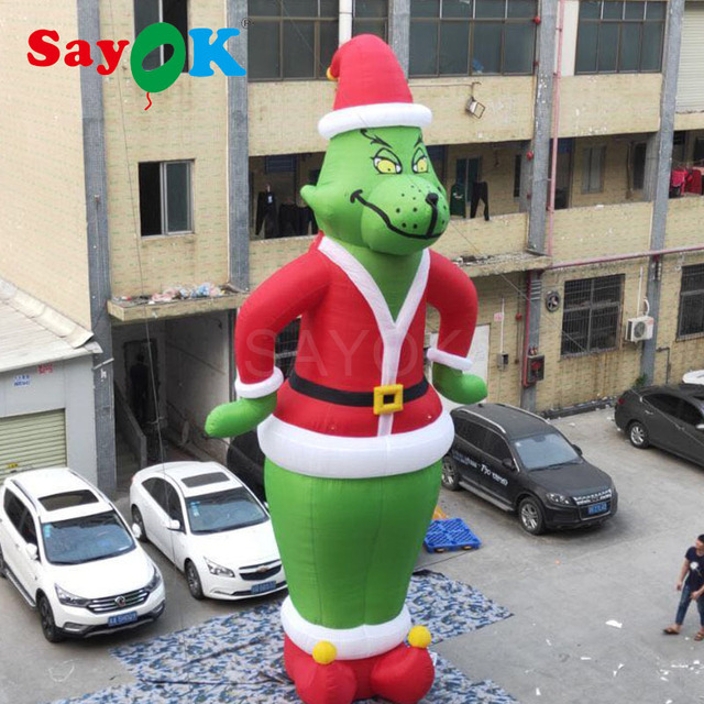 Us 450 0 Inflatable Christmas Grinch As Santa 10ft 28ft Tall Christmas Decorations With White Light For Store Home Yard In Pendant Drop Ornaments
