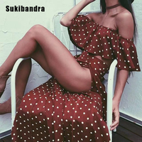 Sukibandra Summer Vintage Women 2 Two Piece Dress Polka Dot Print Wine Red Crop Top Dresses Off Shoulder Beach Long Maxi Dress