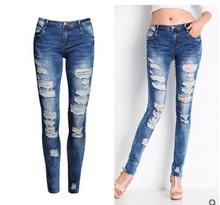 S/3Xl Womens Spring And Autumn Hole Jeans Pencil Pants Female Cowboy Skinny Elastic Full Lenth Denim Trousers Jeans Pants J1208