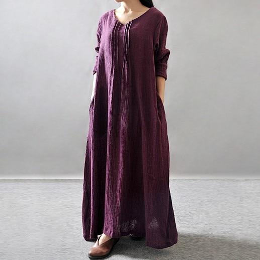 AREALNA podzimní dlouhé šaty dámské Loose Long Sleeve Bavlna - Dámské oblečení