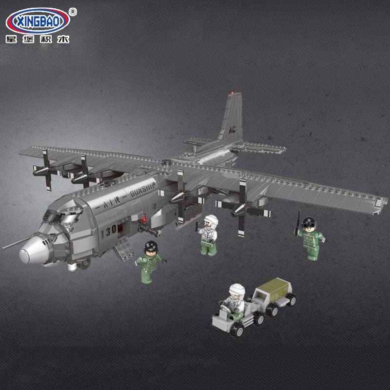 XINGBAO 06023, 1713 piezas militares la serie AC130 aérea lancha modelo bloques de construcción ladrillos juguetes educativos, regalos de cumpleaños-in Bloques from Juguetes y pasatiempos    3