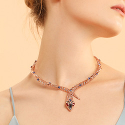 Viennois Rose Gold Color Snake Necklace For women Chokers Necklaces Rhinestone/Crystal Chain Necklaces Wedding Party Jewelry