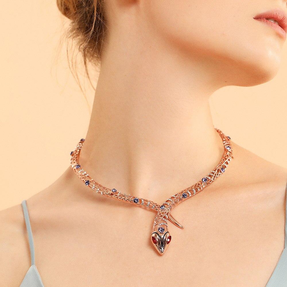 84fb8edf0e14 Viennois de oro Color de rosa collar de serpiente para mujer gargantillas  collares de diamantes de imitación de cristal collares de cadena de boda  joyería ...