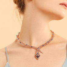 Viennois Rose Gold Color Snake Necklace For women Chokers Necklaces Rhinestone/Crystal Chain Necklaces Wedding Party Jewelry(China)