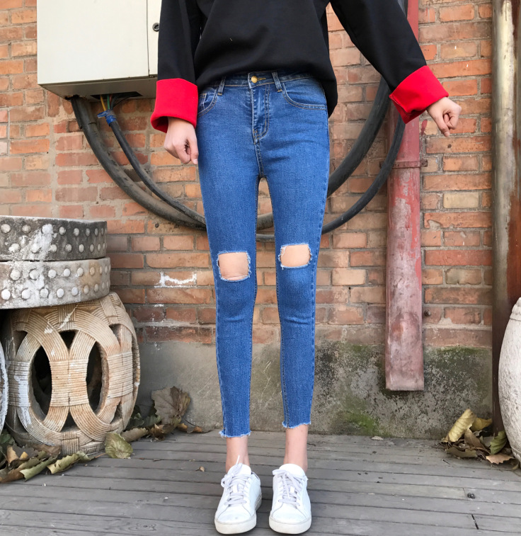 Chun xia han edition of tall waist new super elastic comfortable hole hand burrs feet pants jeans are female  free shipping tall waist elastic hole cowgirl of cultivate one s morality show thin women s jeans