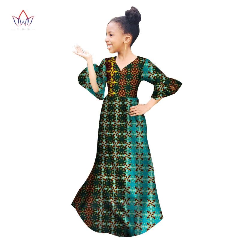 2019 Afrikanische Frauen Kleidung Kinder Dashiki Traditionellen Baumwolle Kleider Schmetterling Hülse Druck Kleider Kinder Frühling Brw Wyt154 üBereinstimmung In Farbe