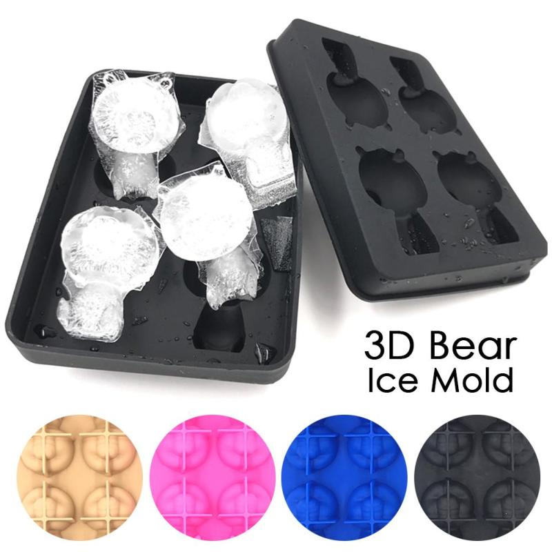 Hot Silicone 3D Panda Ice Molds Whiskey Ice Mold With Cover Easy Release Ice Cubes Maker Gadgets Cream Tools A30