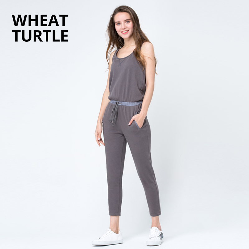 WHEAT TURTLE Minimalist Apparel Womens Clothing Womens Jumpsuits Ankle-Length Solid Summer Lace Up Women Jumpsuits ...