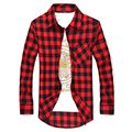 New Men's Striped Shirts 2016 Spring Fashion Plaid Shirts Men Long Sleeve Brand Slim Fit Shirts For Male Casual Style I194