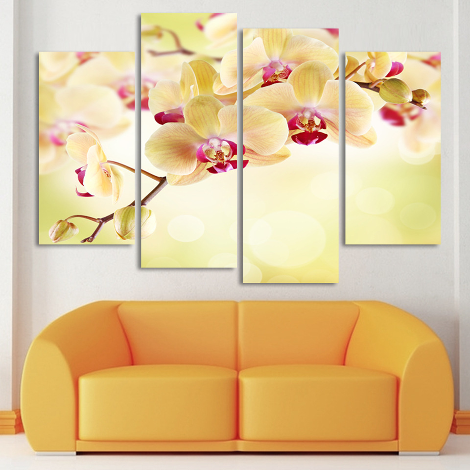 4 Square Free Shipping Art Canvas Painting Home Decor Digital Photos Wall Stickers Yellow Butterfly Orchid Picture H079 In Calligraphy From