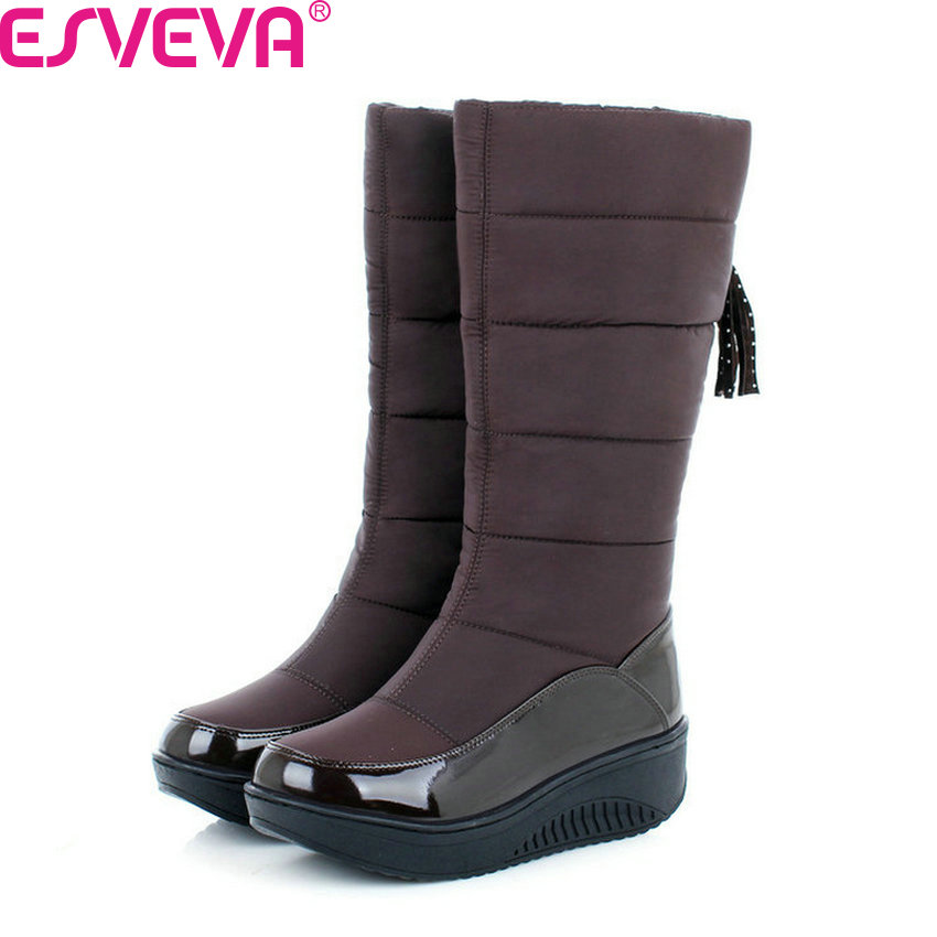 ESVEVA 2018 Women Boots Cold Winter Warm Plush Snow Boots Fashion Platform Med Heel Mid-Calf Boots Ladies Boots Size 35-40