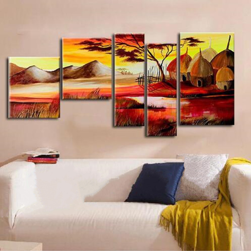 Home Office Sets Painted Office 5 Piece: Large 5 Piece Wall Painting Pictures Sets Hand Painted