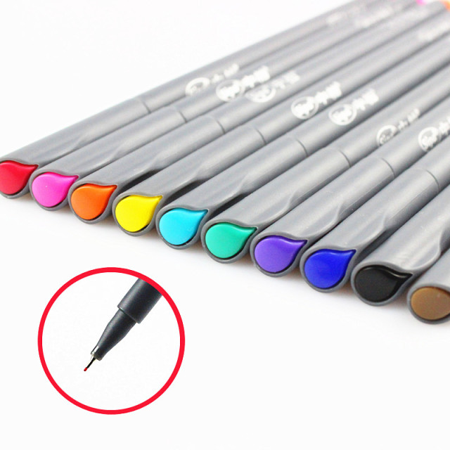 10 pcs Lot Fine line drawing pen for manga cartoon advertising design Water Color pens Stationery