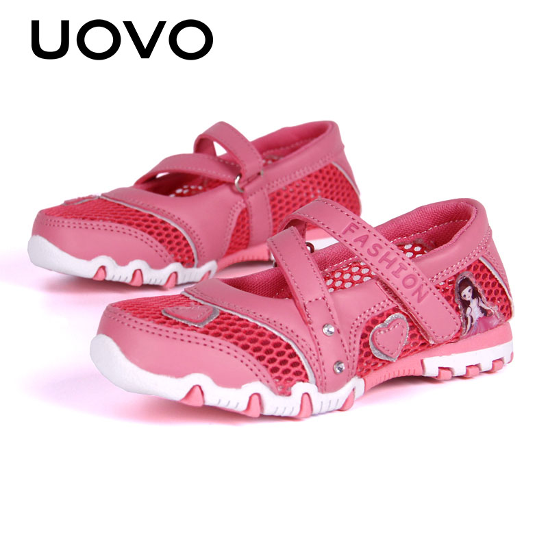 UOVO Spring Shoes For Kids Girls Princess Shoes 2020 Breathable Mesh Shoes For Little Girls Cartoon Flats Children Size 27#-33#