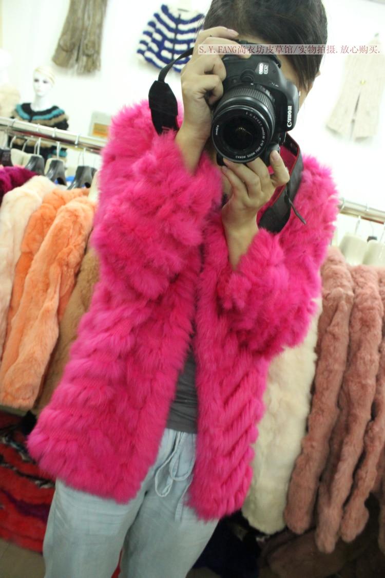 2018 Top Rabbit Fur Knitted Fur Coat Sweet All-match Cardigan Autumn