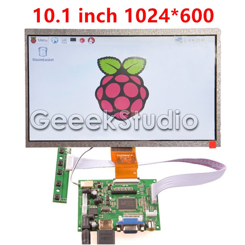 10.1 Inch 1024*600 LCD Screen TFT Monitor Display with Driver Board HDMI VGA 2AV for Raspberry Pi 2 / 3 Model B dual mc33886 motor driver board dc 5v 2a for smart car raspberry pi a b 2b 3b