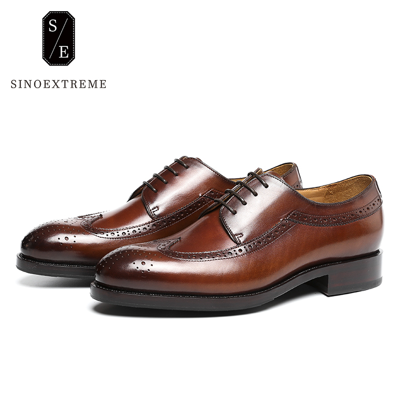 SINOEXTREME 2018 Men Cow Leather Brogue Shoes Male Lace-Up Casual Shoe Top Quality Male Shoes British Style Winter Shoes for Man 2017 england style men genuine leather cow new fashion lace up breathable casual shoes male vintage match color black coffee