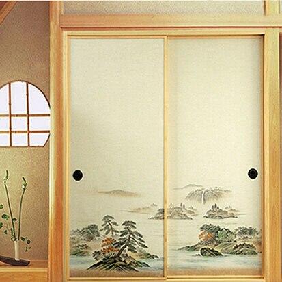 Japanische Wand japanischen fusuma tür papier 2 blätter paar washi holzschnitt decor
