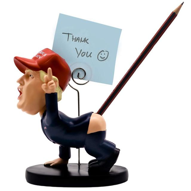Trump Pen Holder Desk Decor Pen insertion With business card holder Shaking head cartoon doll as gift funny