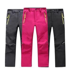 Image 1 - Marca impermeável à prova de vento meninos meninas calças crianças outerwear quente calças de escalada esportiva para 4 14 anos de idade