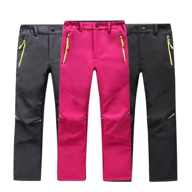 Marca impermeável à prova de vento meninos meninas calças crianças outerwear quente calças de escalada esportiva para 4 14 anos de idade