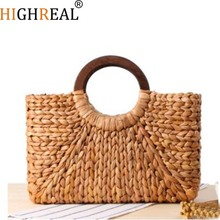 Wooden ring Portable Women Straw Bag Korean Foreign of Corn Skin Beach Bag Travel Pictures Props Straw Bag Moon Bag