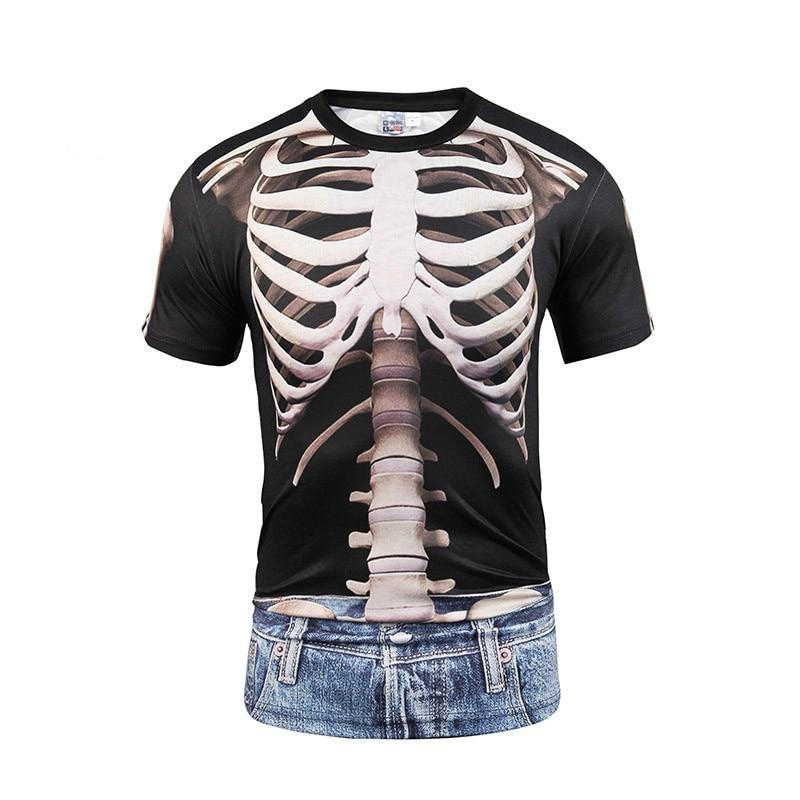 3d Men funny t-shirt printed t-shirts skull Short sleeve cartoon hip hop tops tees fashion