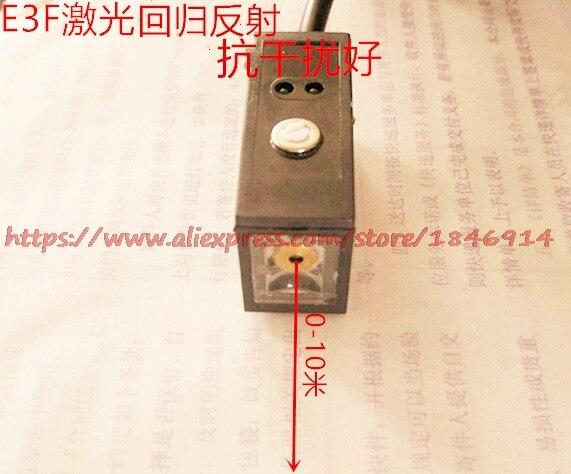 Carré laser photoélectrique commutateur/retour miroir capteur NPN. PNP E3F normalement ouvert distance 10 m pour 1 ans