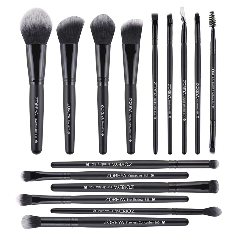 ZOREYA15 makeup brush set black rayon black wooden handle makeup eye shadow brush set gray storage bag makeup beauty makeup toolZOREYA15 makeup brush set black rayon black wooden handle makeup eye shadow brush set gray storage bag makeup beauty makeup tool