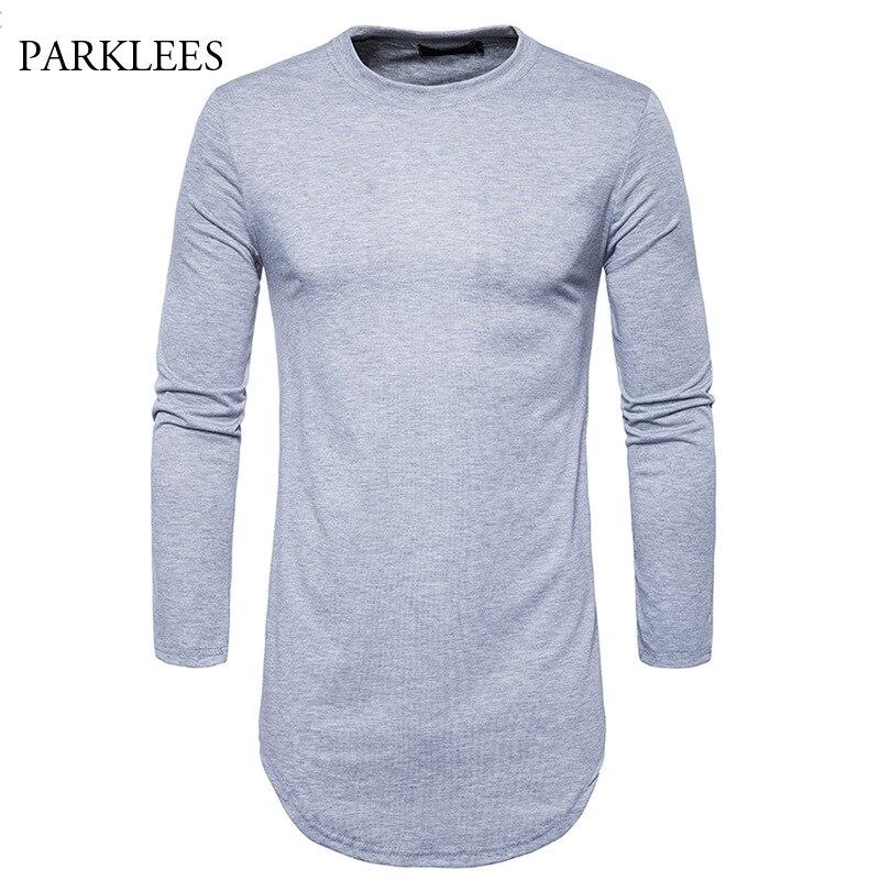 Extra Long T Shirt Men Solid T Shirts 2017 Fashion Design Male T-shirt High Street Longline T Shirts Hip Hop Side Zipper Tshirt