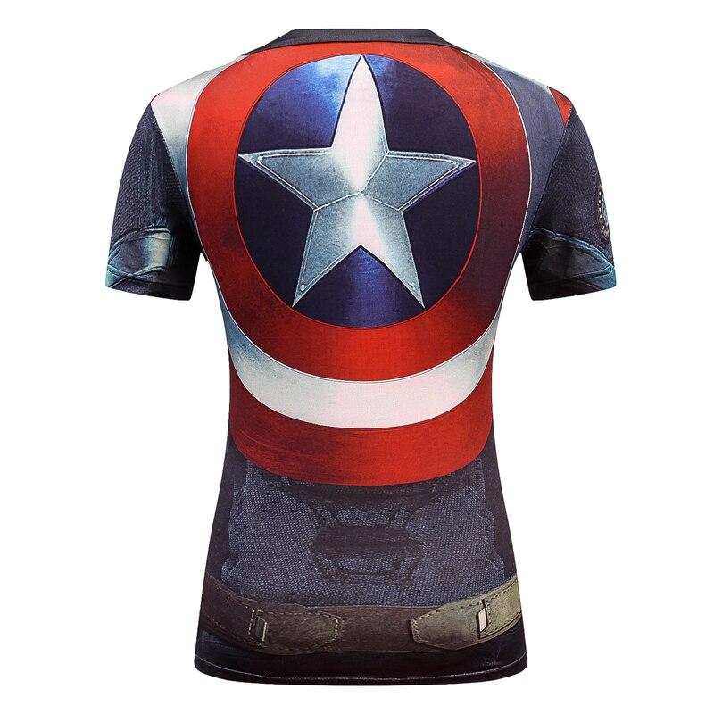 Senhoras Mulheres Camiseta Marvel Super Heroes Capitão América Superman  Batman A compressão 3D Camiseta Lanterna Verde T-shirt da Menina 08d7ffa575257