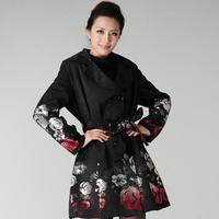 New women winter Fashion Printing Trench Coat Rose Jacquard Double Breasted Slim Trench Women's Outerwear Plus Size