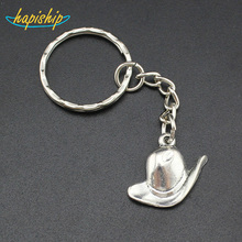 Hapiship 2017 New Women Men s Fashion Jewelry Handmade Silver Hat Key Chains Key Rings Alloy
