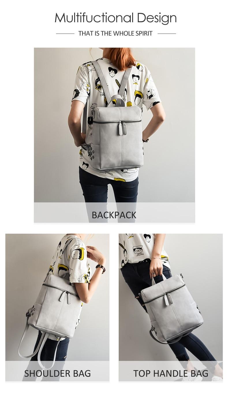 HTB1M4O7a.rrK1RkSne1q6ArVVXa9 Simple Style Backpack Women Leather Backpacks For Teenage Girls School Bags Fashion Vintage Solid Black Shoulder Bag Youth XA568