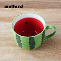 Trái cây gốm cốc cà phê dưa hấu chanh hình dạng cam phim hoạt hình tea cup milk mug di chịu nhiệt 400 ml hand painted mug
