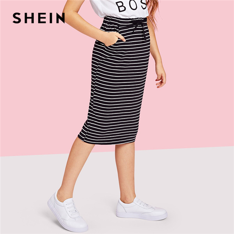 SHEIN Pocket Drawstring Waist Striped Casual Girls Skirts 2019 Spring Fashion Pencil Elegant Long Skirt Girl Kids Skirts
