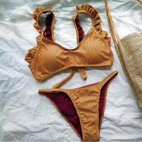 2018 Bikinis Set Women Swimsuit Bathing Suits Swim Lotus Leaf Split Bikini Yellow Stripes Low Waist