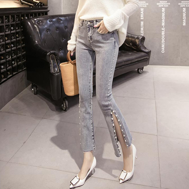 d2aa3fb658 PAROLLADA Rajó Repiques Longitud Vaqueros de Campana Pantalones de Mezclilla  Skinny Jeans Ladies Tobillo