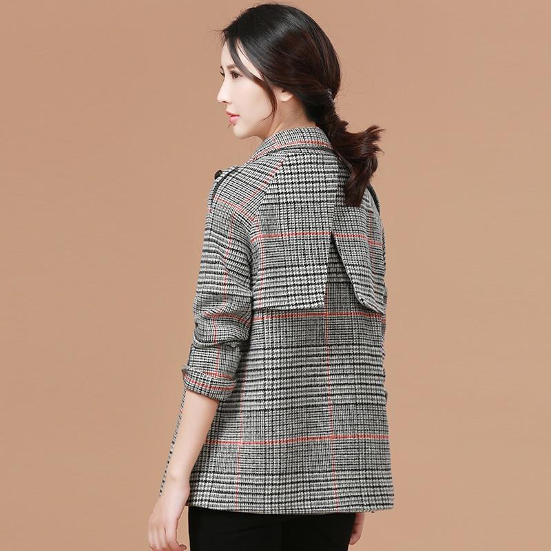 Femenina Mujeres Popular Costura Coreana Invierno Houndstooth Plaid Abrigos Cómodo Z254 2018 Charretera Otoño Del Moda Versión Nuevo Capa gBwOUU