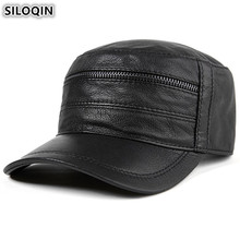 SILOQIN Adjustable Size Men's Flat Cap Genuine Leather Hat Sheepskin Leather Baseball Caps For Men Autumn New Style Brands Hats