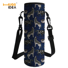 цены HUGSIDEA Printing Wolf Water Bottle Cover Bag Insulation Drink Bottle Carrying Pouch Shoulder Sport Water Bottle Sleeve Neoprene
