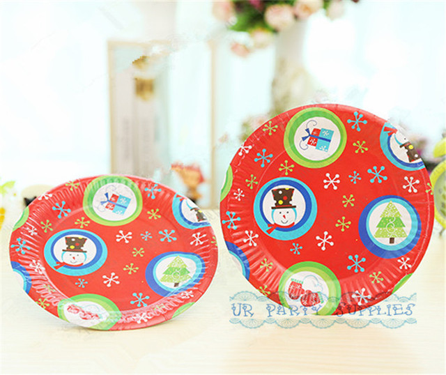 Free Shipping 200pcs 18cm Round Christmas Paper Plates High Quality Pretty Party Dessert Picnic Paper Dishes  sc 1 st  AliExpress.com & Free Shipping 200pcs 18cm Round Christmas Paper Plates High Quality ...