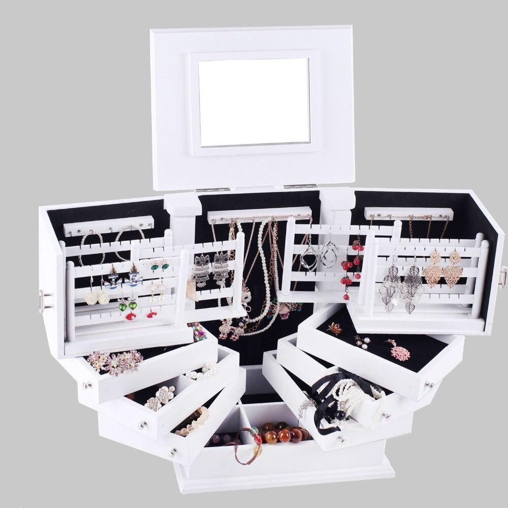 ROWLING Extra Large En Bois Boîtes à Bijoux De Luxe Coffret En Bois Cadeau Miroir Organisateur Colliers Boucles D'oreilles Maquillages De Stockage Titulaire