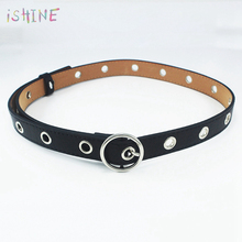 Women Leather Belt Round Metal Pin Buckle Circle Belts Circle Ring Hollow Out Large Small Holes Belt Punk O Ring for Women belt punk style pure color hollow out ring for women
